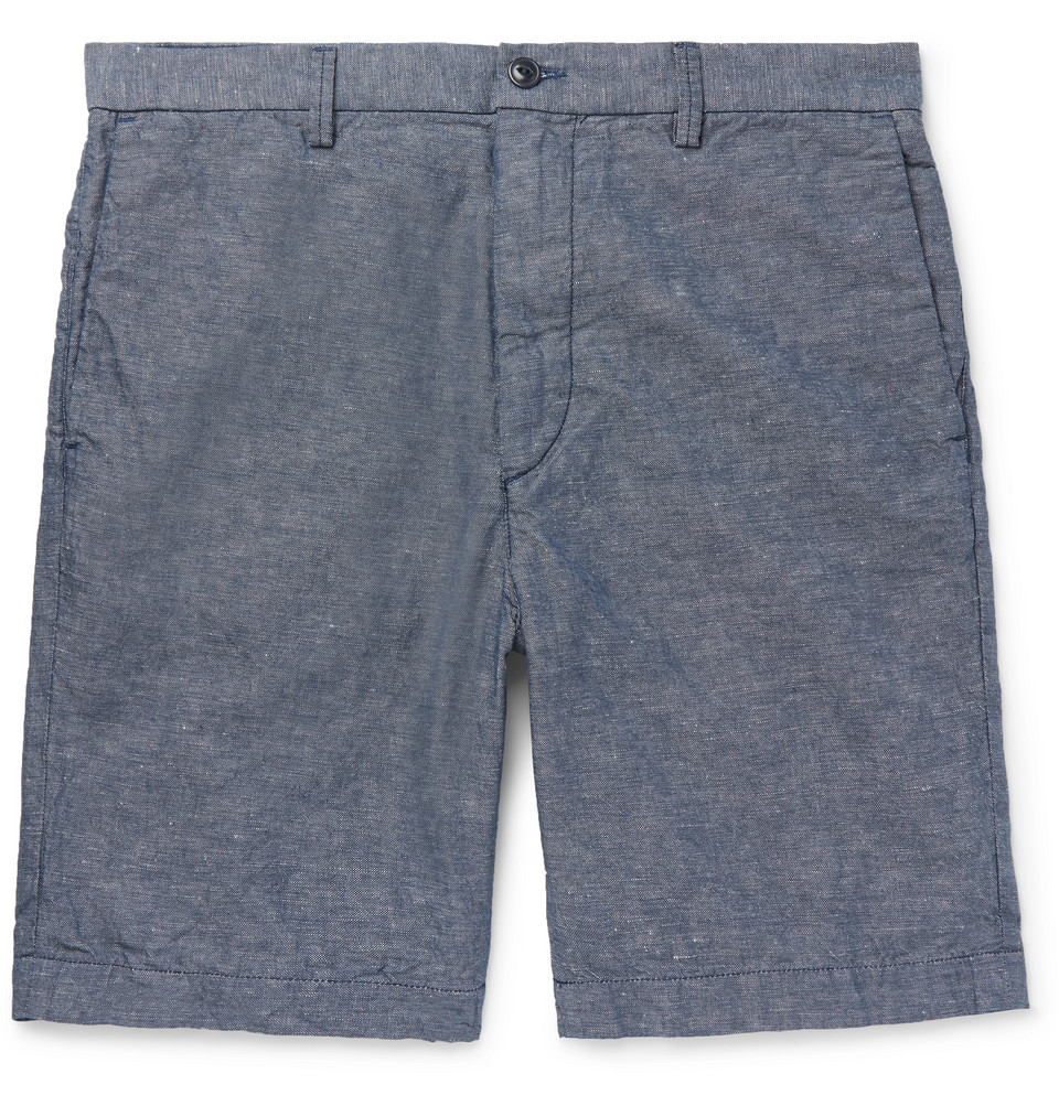 Cotton And Linen-blend Chambray Shorts - Blue