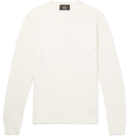 Slim Fit Waffle Knit Cotton Henley T Shirt by Rrl