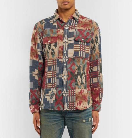 Patchwork Cotton Jacquard Overshirt by Rrl