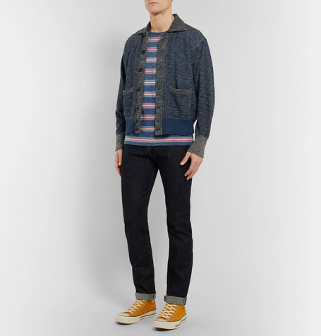 Striped Garment Dyed Knitted Cotton T Shirt by Rrl