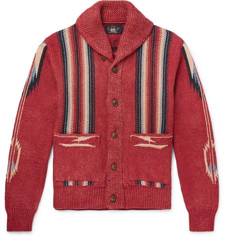 Shawl Collar Cotton, Linen And Silk Blend Jacquard Cardigan by Rrl