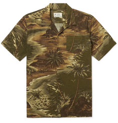 RRL - Slim-Fit Camp-Collar Printed Linen-Blend Shirt