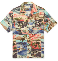 RRL - Slim-Fit Camp-Collar Printed Woven Shirt