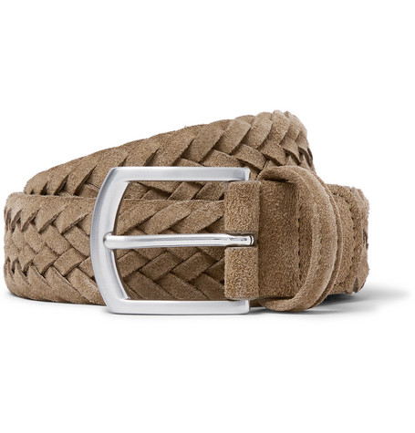 3.5cm Light-brown Woven Suede Belt