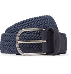 3.5cm Navy Leather-trimmed Woven Elastic Belt - Blue