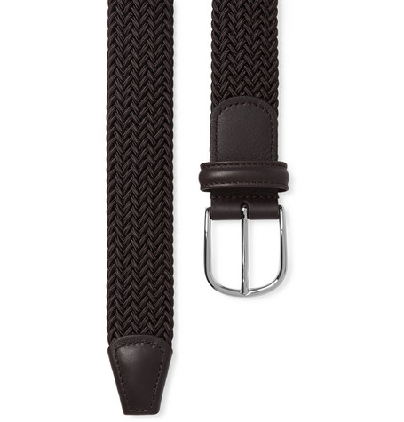 3.5cm Brown Leather Trimmed Woven Elastic Belt by Anderson's