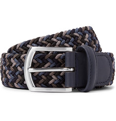 Anderson's 3.5cm Storm-Blue Leather-Trimmed Woven Elastic Belt