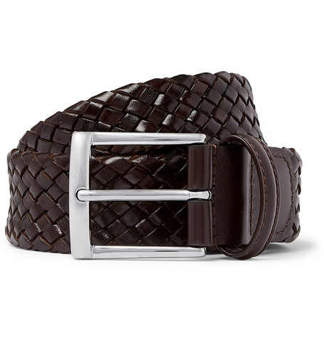 3.5cm Dark-brown Woven Leather Belt