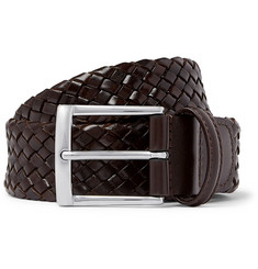 Anderson's - 3.5cm Dark-Brown Woven Leather Belt