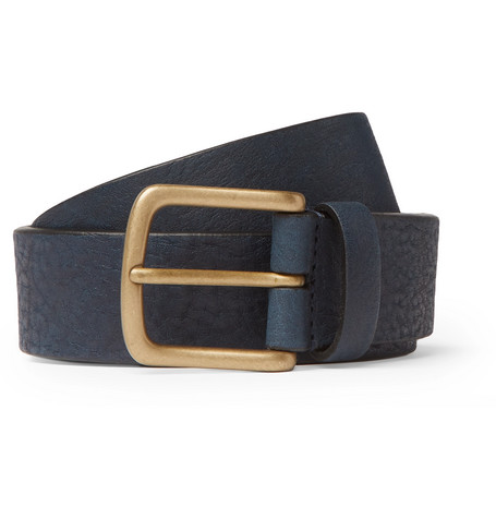 3cm Navy Full-grain Leather Belt