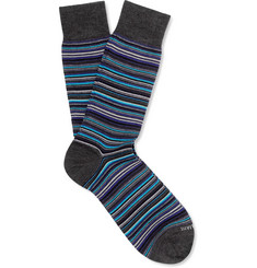 Marcoliani Striped Merino Wool-Blend Socks