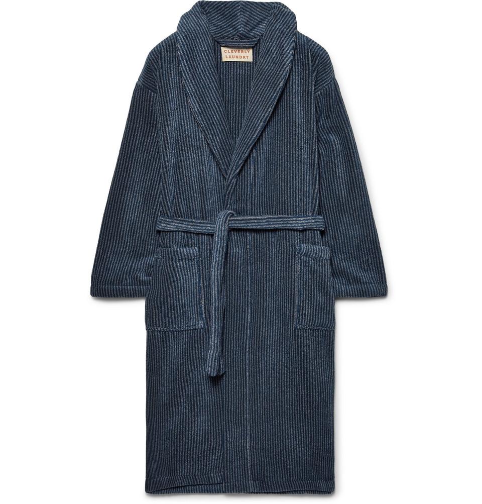Striped Cotton-terry Robe - Navy