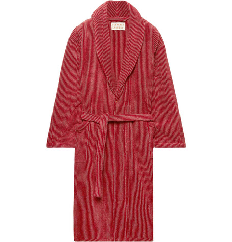 CLEVERLY LAUNDRY Striped Cotton-Terry Robe in Brick