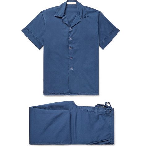 CLEVERLY LAUNDRY Washed-Cotton Pyjama Set in Storm Blue