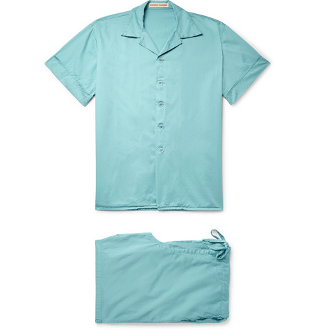 CLEVERLY LAUNDRY Washed-Cotton Pyjama Set in Blue