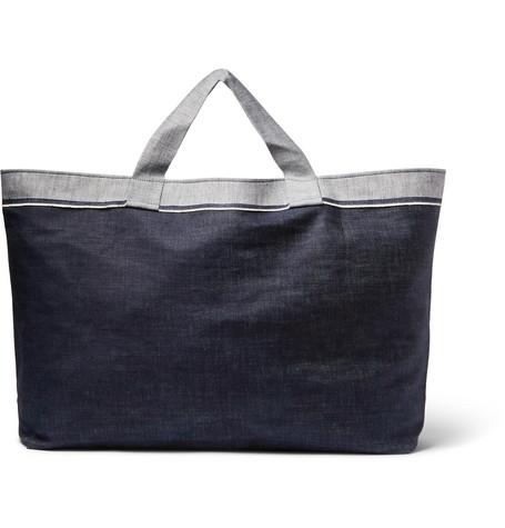 CLEVERLY LAUNDRY Two-Tone Denim Laundry Bag in Dark Denim