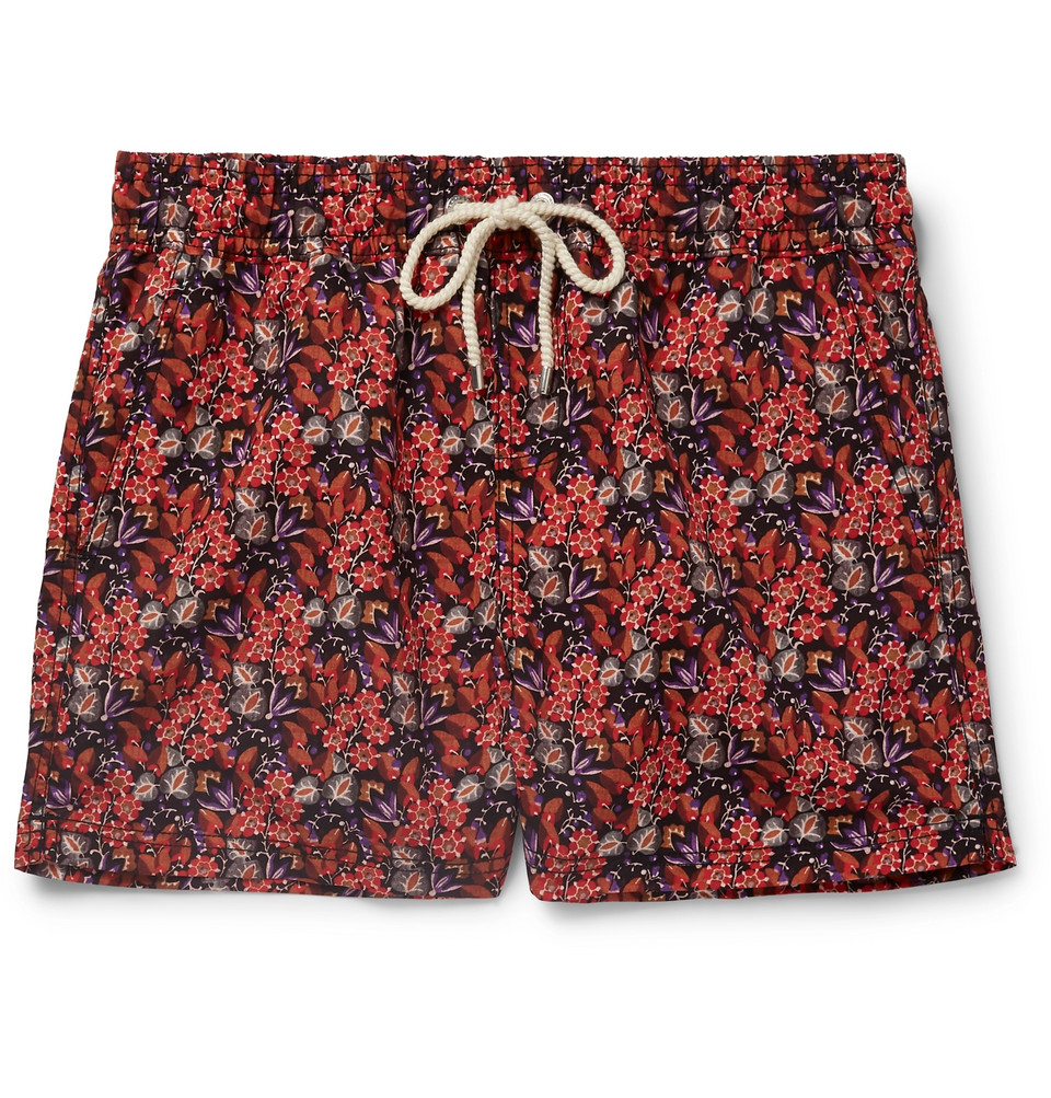 Helianthe Short-length Printed Swim Shorts - Orange
