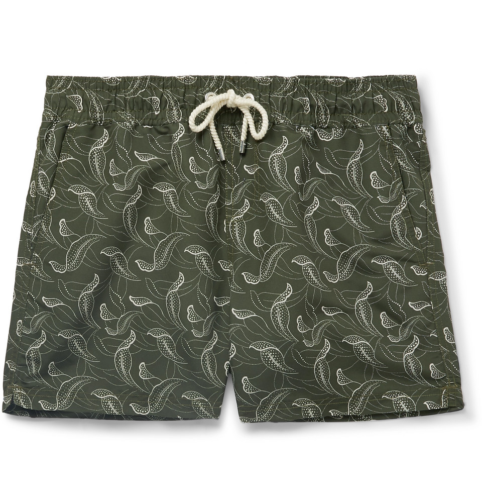 Catalpas Short-length Printed Swim Shorts - Green