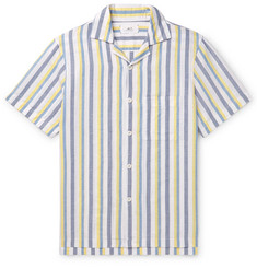 Mr P. - Camp-Collar Striped Linen and Cotton-Blend Shirt