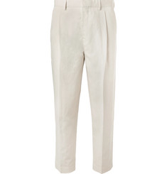 Mr P. - Tapered Pleated Linen and Cotton-Blend Twill Cropped Trousers