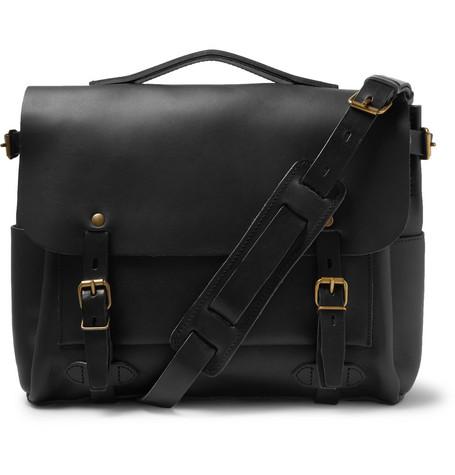 BLEU DE CHAUFFE Éclair Leather Messenger Bag in Black