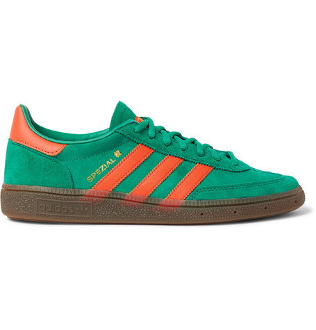 new styles a56ac afd30 Adidas Originals Handball Spezial Leather-Trimmed Suede Sneakers - Green