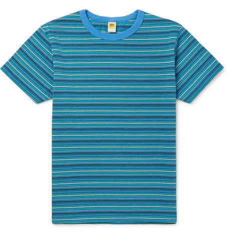 VELVA SHEEN Striped Cotton-Jersey T-Shirt - Blue