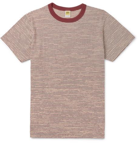VELVA SHEEN Striped Cotton-Jersey T-Shirt - Burgundy
