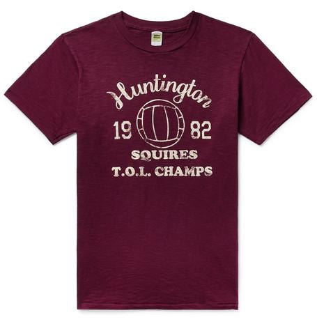 VELVA SHEEN | Velva Sheen - Printed Slub Cotton-jersey T-shirt - Burgundy | Goxip