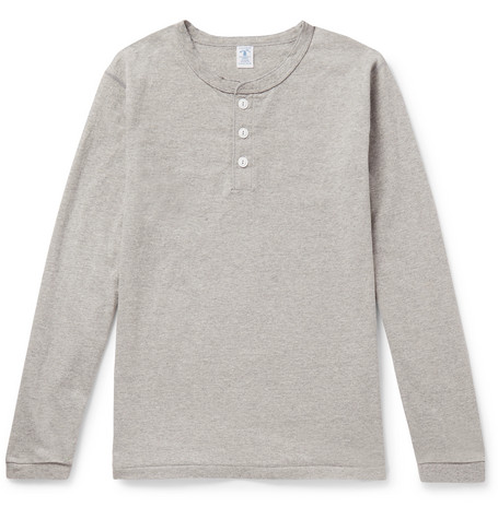VELVA SHEEN | Velva Sheen - Slim-fit Mélange Cotton-blend Henley T-shirt - Gray | Goxip