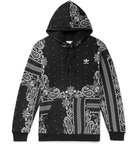 Bandana Print Loopback Cotton Jersey Hoodie by Adidas Originals