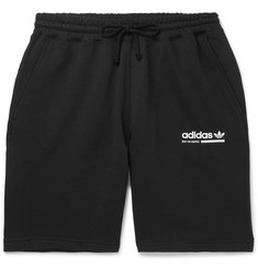 adidas Originals Wide-Leg Logo-Print Fleece-Back Cotton-Jersey Shorts