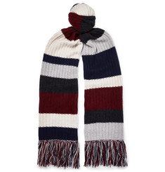 The Elder Statesman - Fringed Striped Ribbed Cashmere Scarf