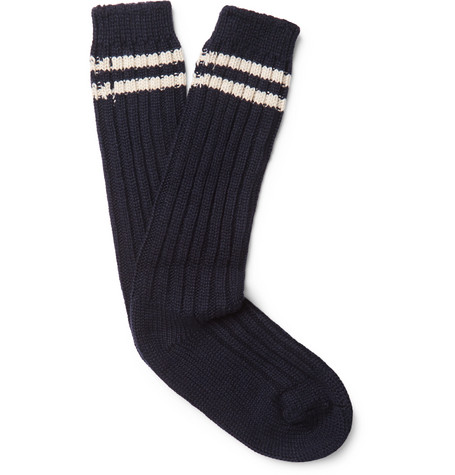 Yosemite Striped Ribbed Cashmere Socks by The Elder Statesman