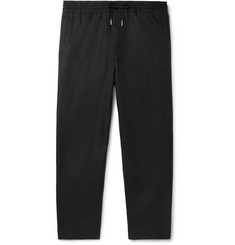 Mr P. - Black Slim-Fit Tapered Linen and Cotton-Blend Drawstring Trousers