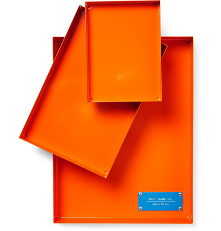 BEST MADE COMPANY The Spare Parts Set Of Three Steel Trays in Bright Orange
