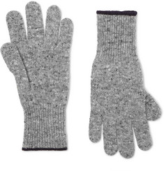 Brunello Cucinelli - Contrast-Tipped Mélange Virgin Wool-Blend Gloves