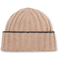 Brunello Cucinelli - Contrast-Tipped Ribbed Wool Beanie