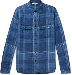 FRAME Checked Linen Shirt