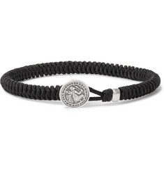 David Yurman Woven Cord and Sterling Silver Bracelet