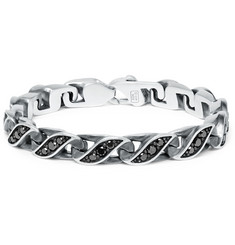 David Yurman Graphic Cable Sterling Silver Diamond Bracelet