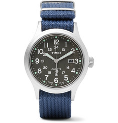 Timex Allied Stainless Steel and Nylon-Webbing Watch