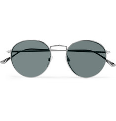 TOM FORD Round-Frame Silver-Tone Sunglasses
