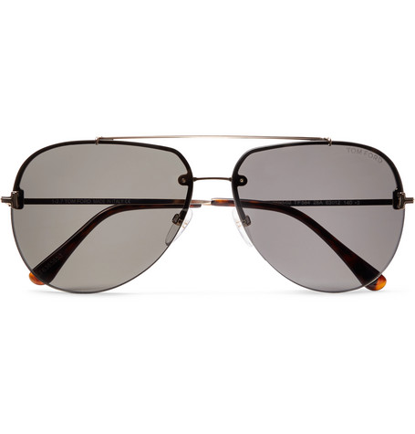9854b67983 TOM FORD - Brad Aviator-Style Silver-Tone Sunglasses