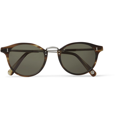Cubitts Flaxman Round-Frame Tortoiseshell Acetate And Silver-Tone Sunglasses in Green