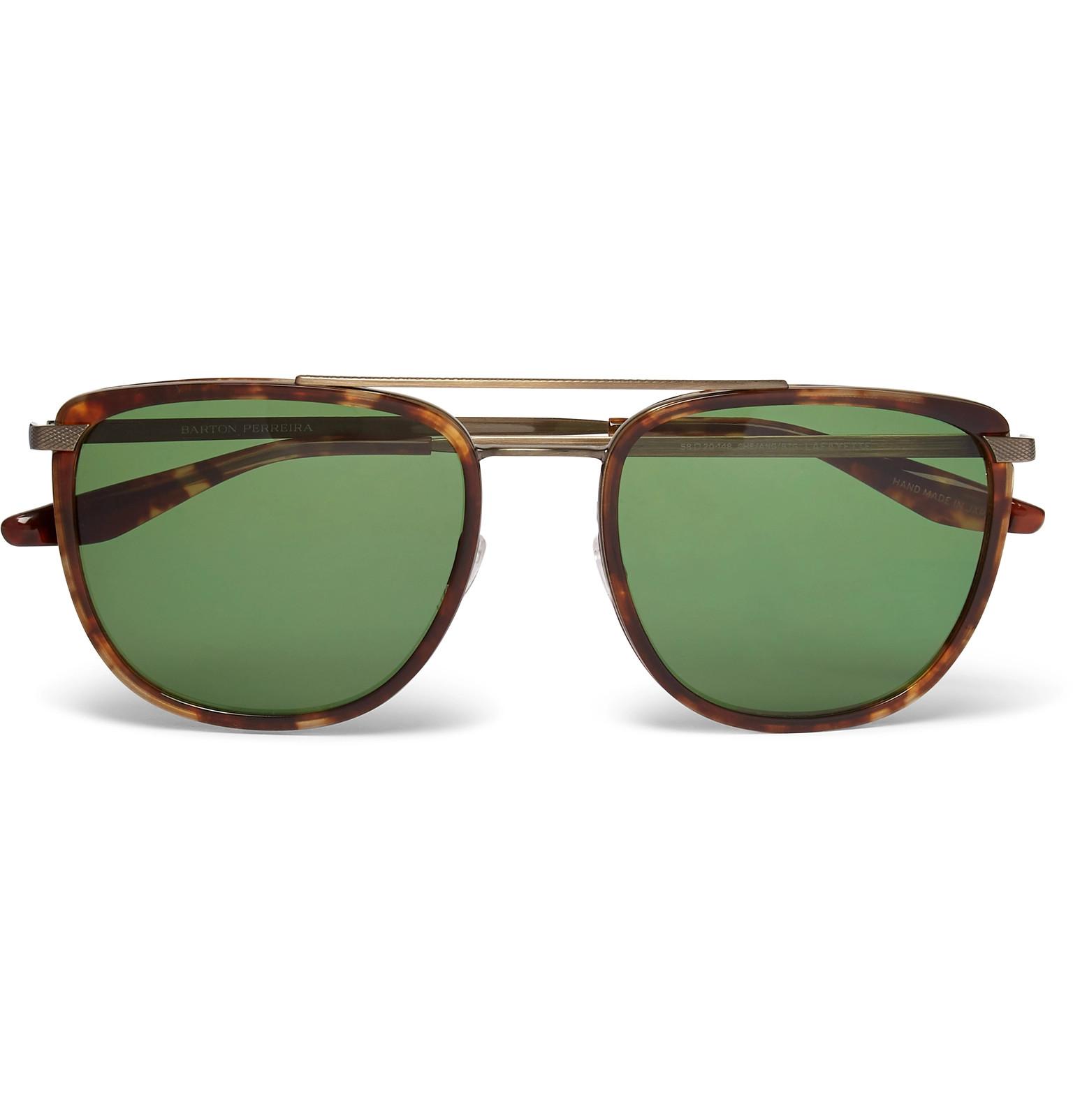 b7cb96e2f14f Barton PerreiraLafayette Aviator-Style Tortoiseshell Acetate and Gold-Tone  Sunglasses