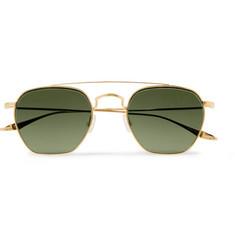 9bb03b8587 Barton Perreira Doyen Aviator-Style Gold-Tone Titanium Sunglasses