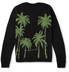 The Elder Statesman Christmas Light Palm Intarsia Cashmere Sweater