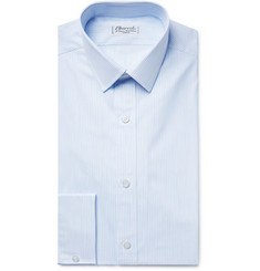 Charvet - Light-Blue Slim-Fit Pinstriped Cotton-Poplin Shirt
