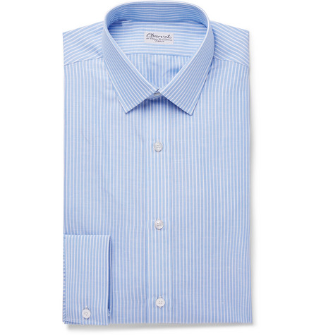 Blue Striped Slub Cotton And Linen Blend Shirt by Charvet